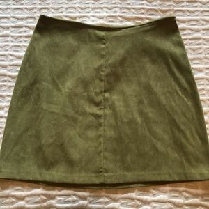 Vintage High Waisted Olive Green Mini Skirt